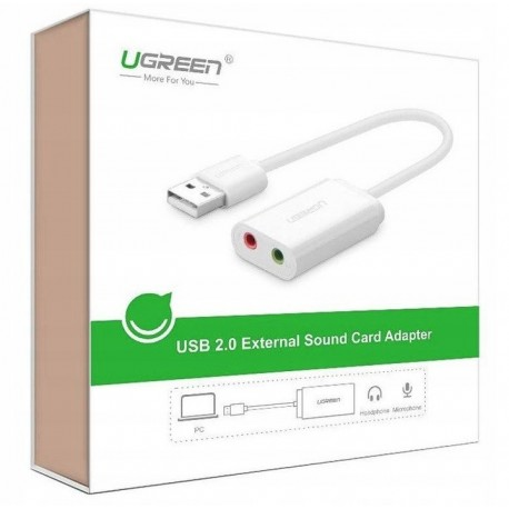 UGREEN Zewnętrzna karta dźwiękowa USB 15cm (biały)