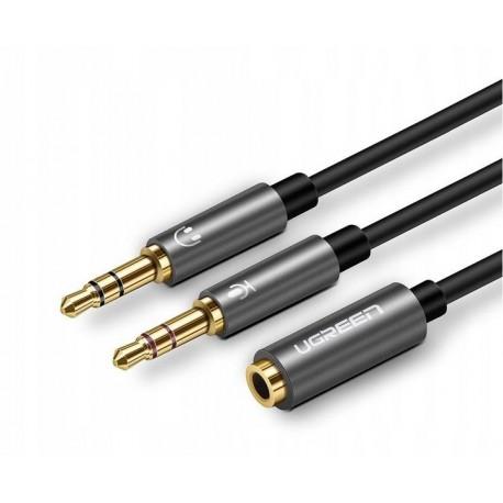 UGREEN 20899 Rozdzielacz audio słuchawki + mikrofon do kabel mini jack 3,5 mm, 28cm