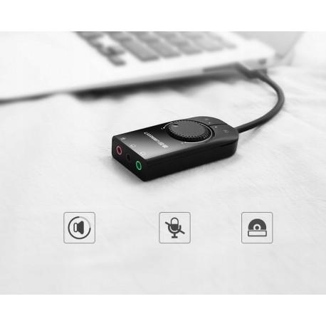 UGREEN Zewnętrzna karta dźwiękowa USB 1m (czarny)